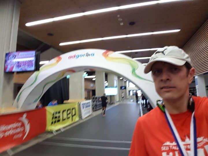 indoor marathon finish