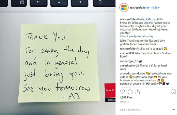microsoft thank you note