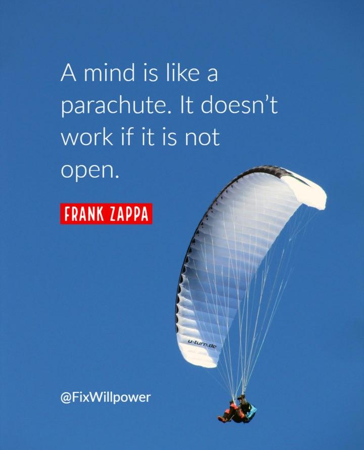 open mind parachute quote zappa