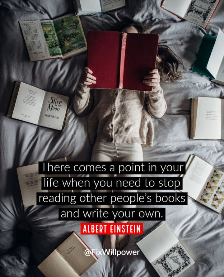 reading books writing quote einstein