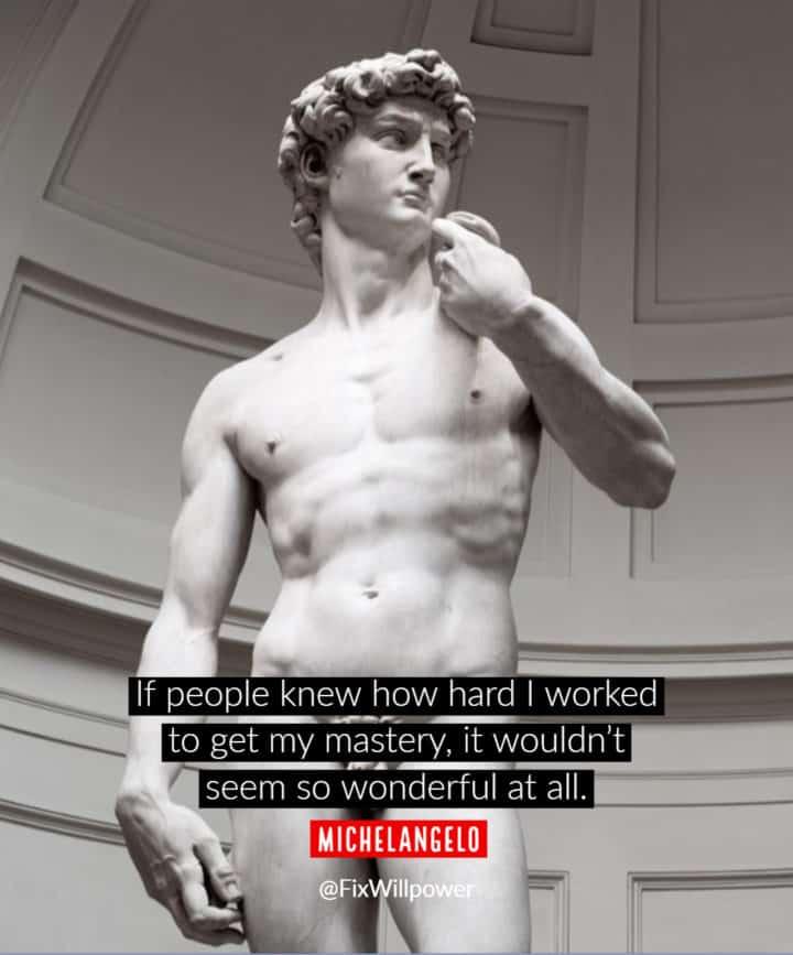 secrets of success quote Michelangelo