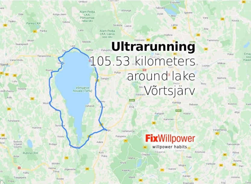 ultrarunning 100 kilometers around lake vortsjarv